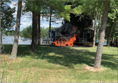 The home on Mohawk Trail caught fire after the All-Terrain Vehicle that was parked next to the structure caught fire.