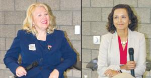 <p>Republican Debbie Lesko, left, and Democrat Hiral Tipirneni share their views on various issues at an April 24 event hosted by Surprise Regional Chamber of Commerce.</p>