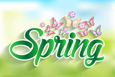 36967121 - spring word paper cut with flowers & butterflies. vector illustration