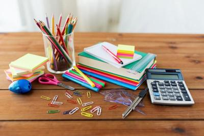 close up of stationery or school supplies on table
