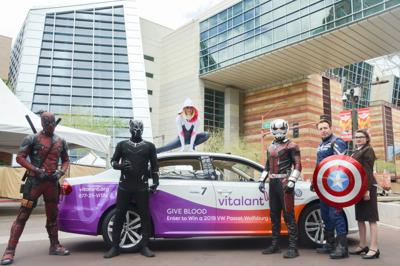 Blood donor to drive away a superhero with VW