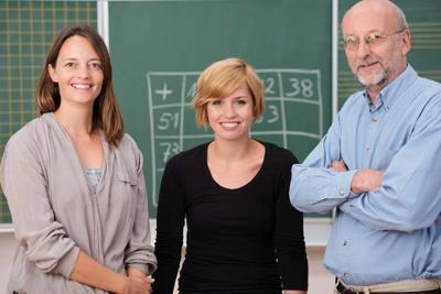 Group of three school teachers