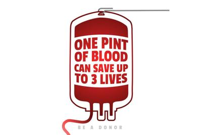 Creative Blood Motivation Information Donor Poster. Blood Donation. World Blood Donor Day banner. Red Blood Bag and Text. Medical design elements. Be a donor.