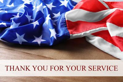 Text THANK YOU FOR YOUR SERVICE and USA flag on wooden background