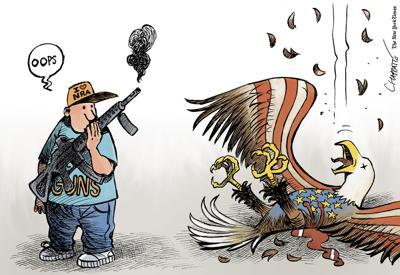 Gun lovers by Patrick Chappatte, The International New York Times