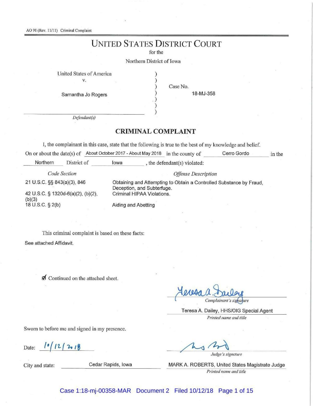 Federal charges against Samantha Jo Rogers