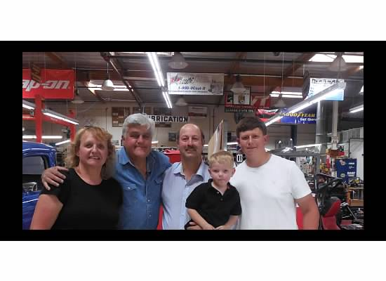 Evans family with Jay Leno