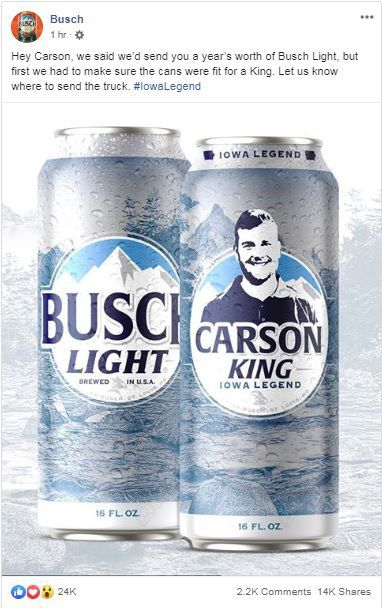 busch light carson king