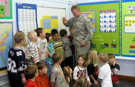 Soldier visits St. Ansgar class to thank his student pen pals