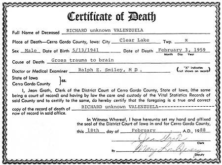 Death Certificate - Ritchie Valens | Holly | globegazette.com