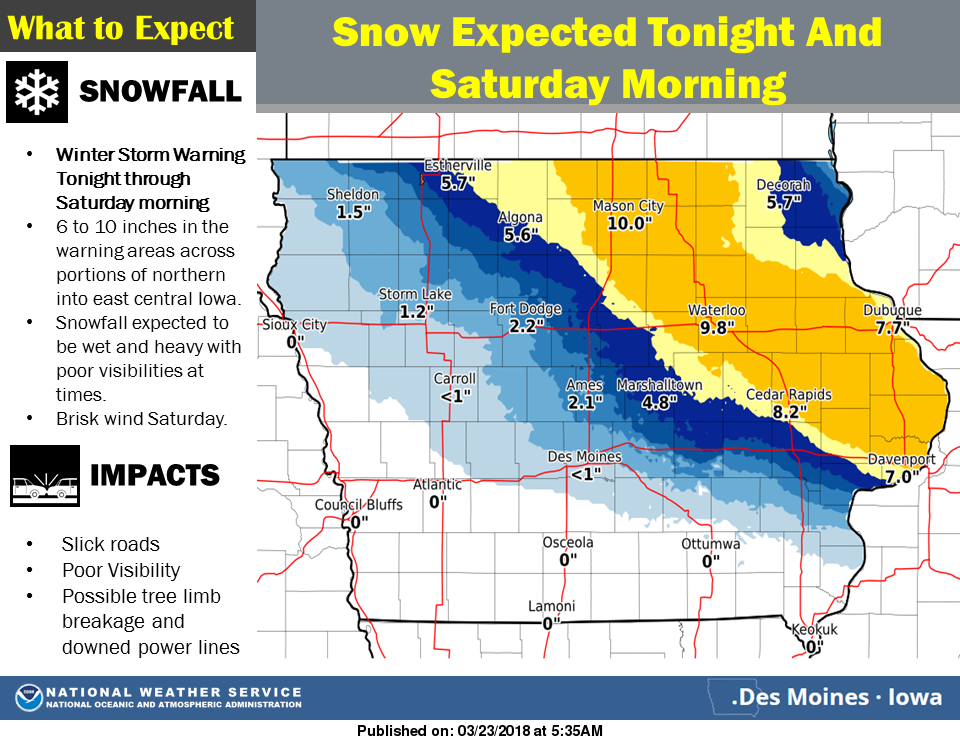 Update Nws Upgrades Winter Storm To A Warning For North Iowa 8 To