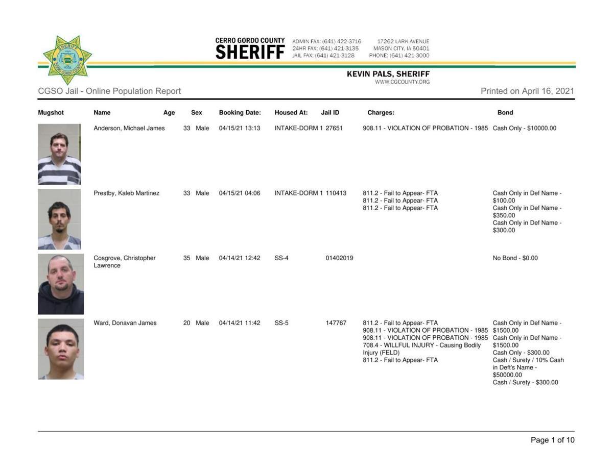 4-19 Cerro Gordo County Jail log
