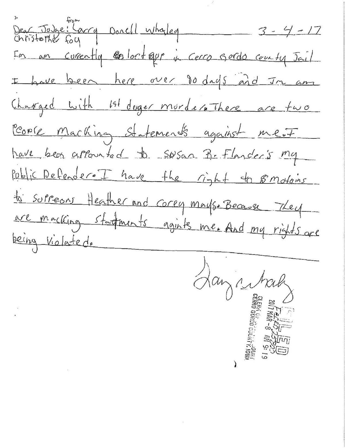Click here to read homicide suspect Larry Whaley's letters to Judge Foy