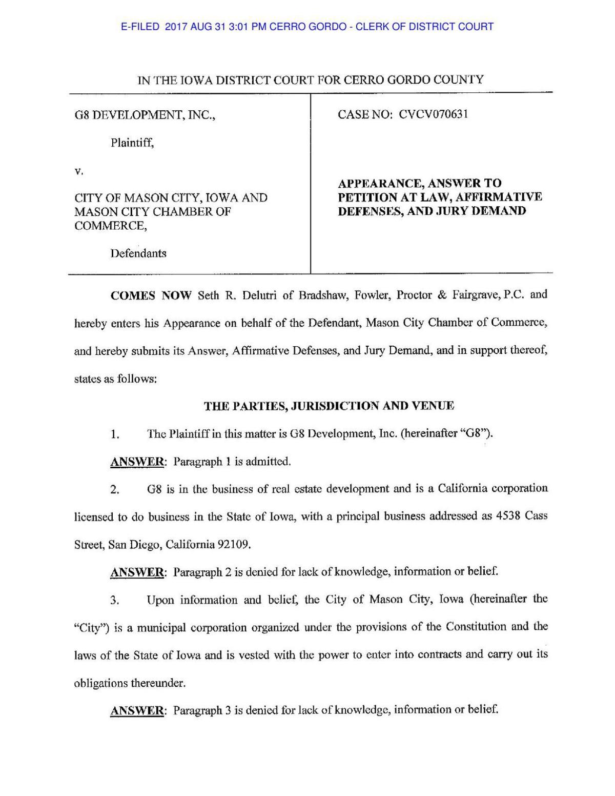 Chamber response to lawsuit