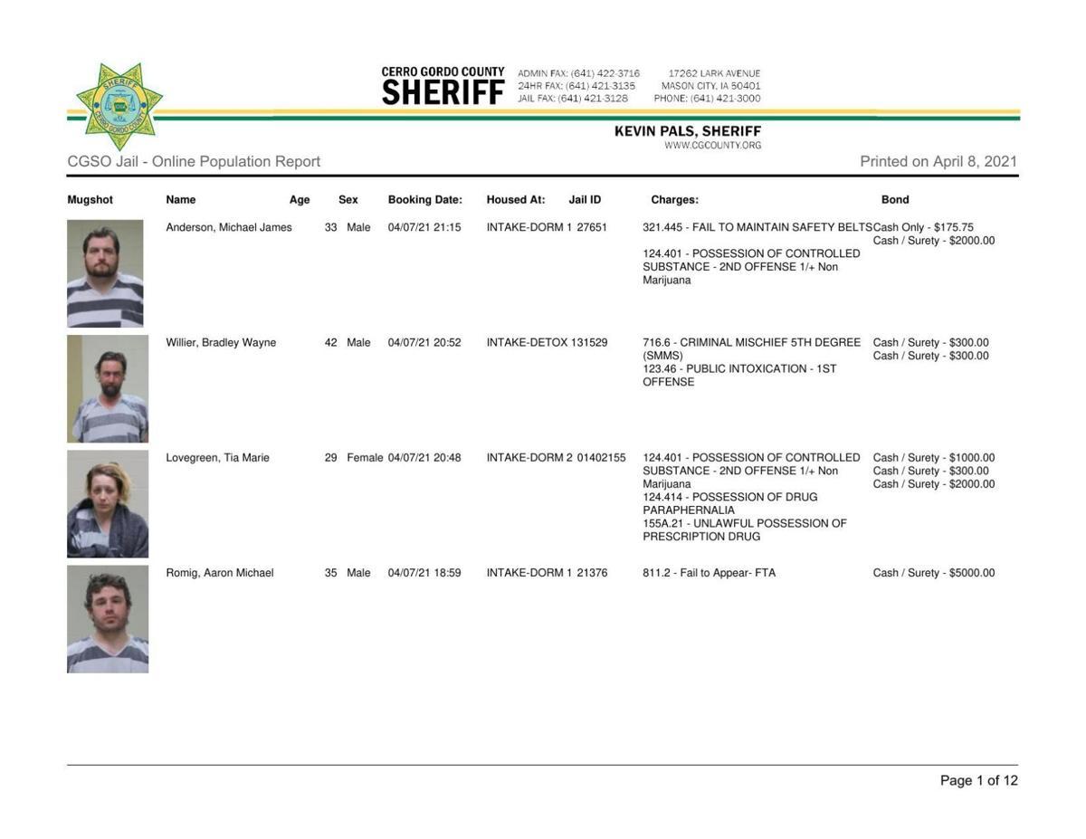 4-8 Cerro Gordo County Jail log