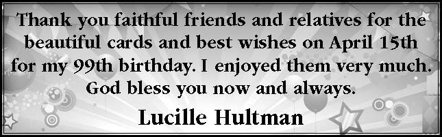 Thank you from Lucille Hultman