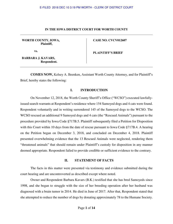 Worth County brief against Barbara Kavars