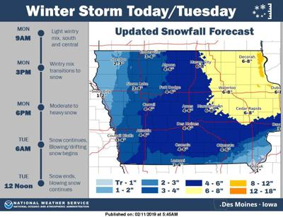 Winter Storm Warning 5 7 Inches Expected Across North Iowa Monday