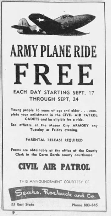 World War II-era ads, articles from the Mason City Globe Gazette