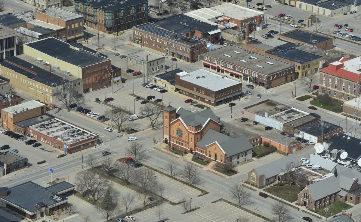 Aerials Mason City downtown