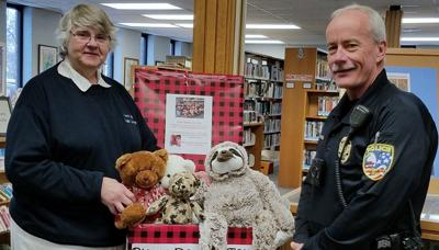 Stuffed animals at the public library