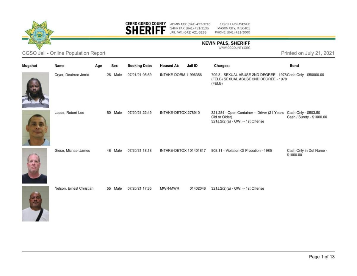 7-21 Cerro Gordo County jail inmates