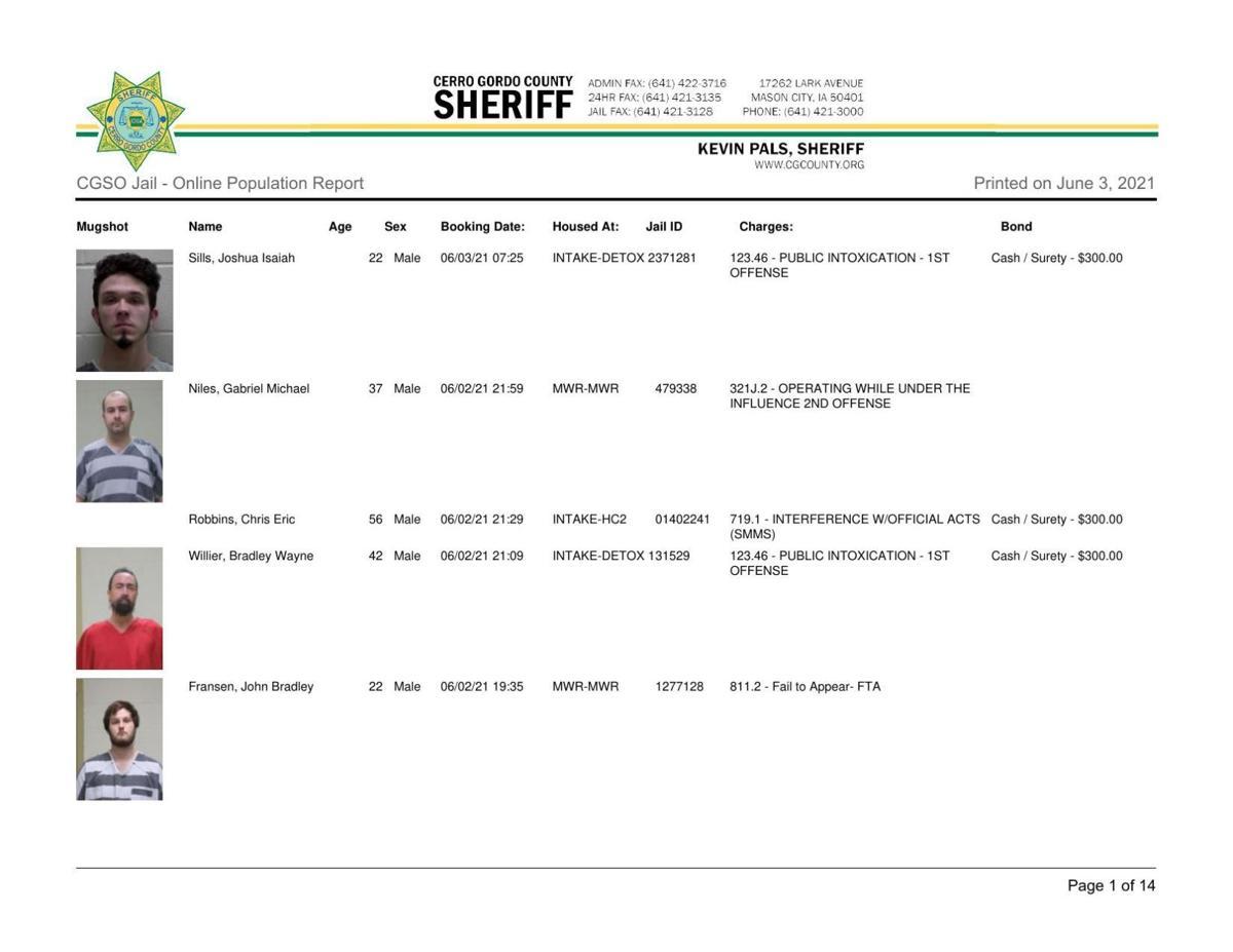 6-3 Cerro Gordo County jail inmates