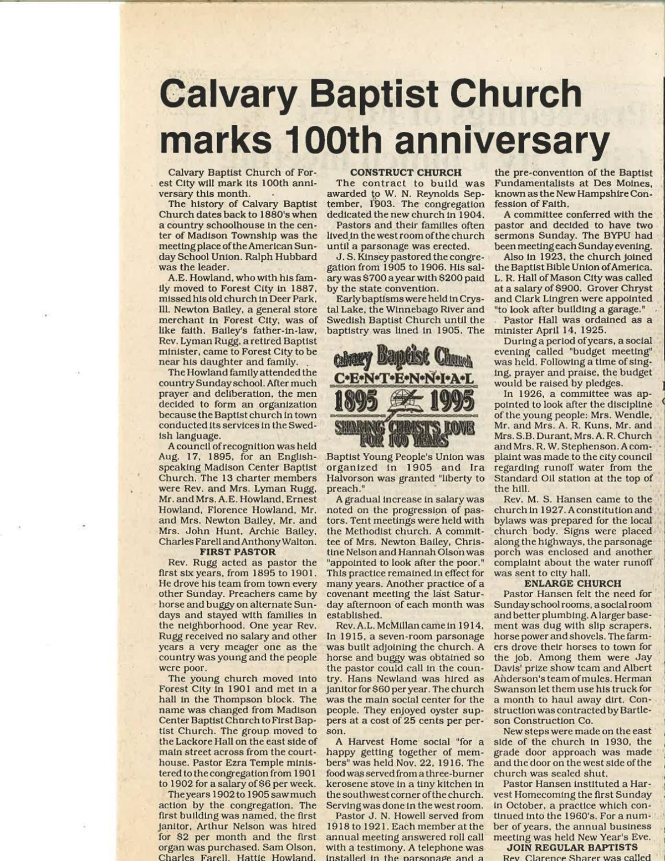 Calvary Baptist 100th anniversary story