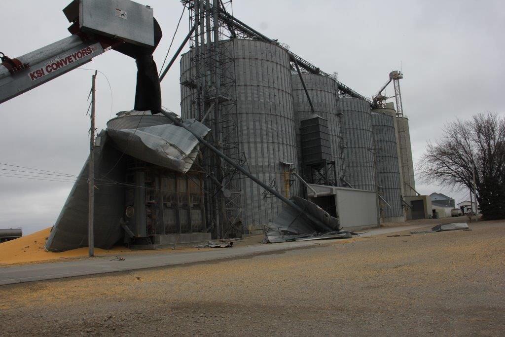Grain bin collapse