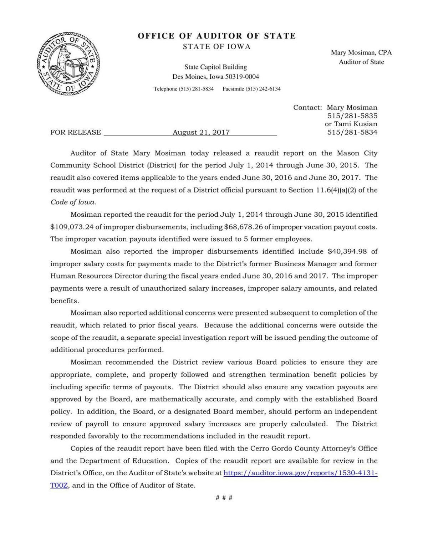 Audit cover letter | | globegazette.com