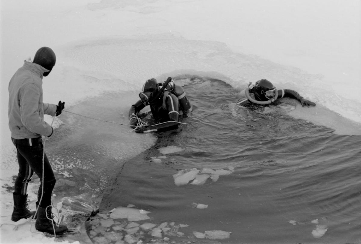 Scuba divers under ice