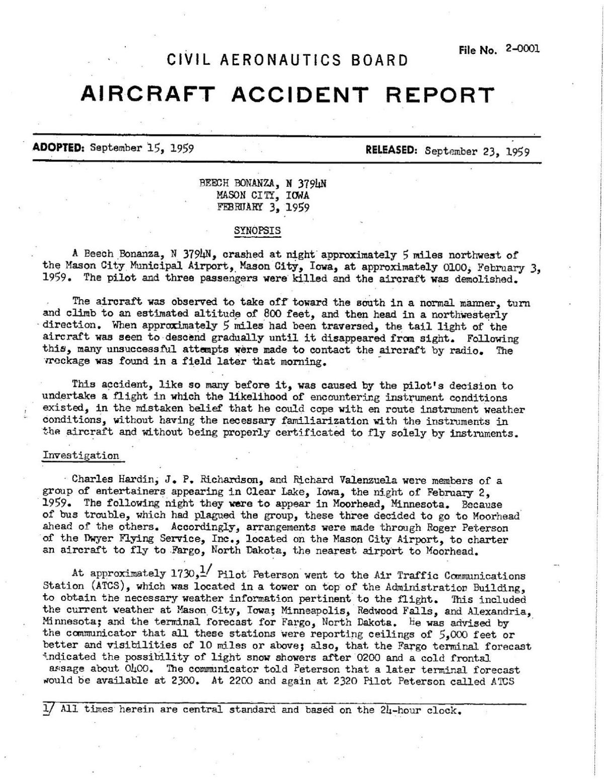 Click here to read the NTSB report of the Buddy Holly crash