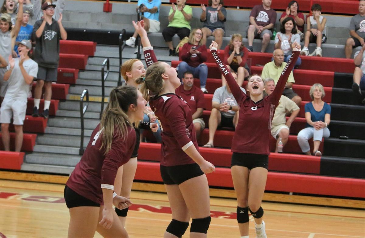Newman Catholic volleyball hosts West Hancock - win