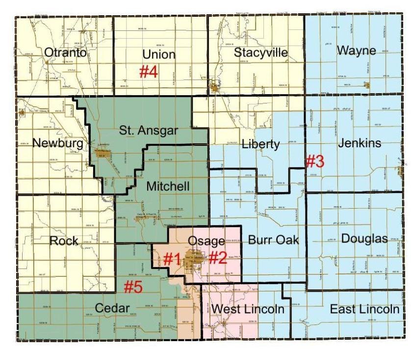 Mitchell County Supervisor districts map