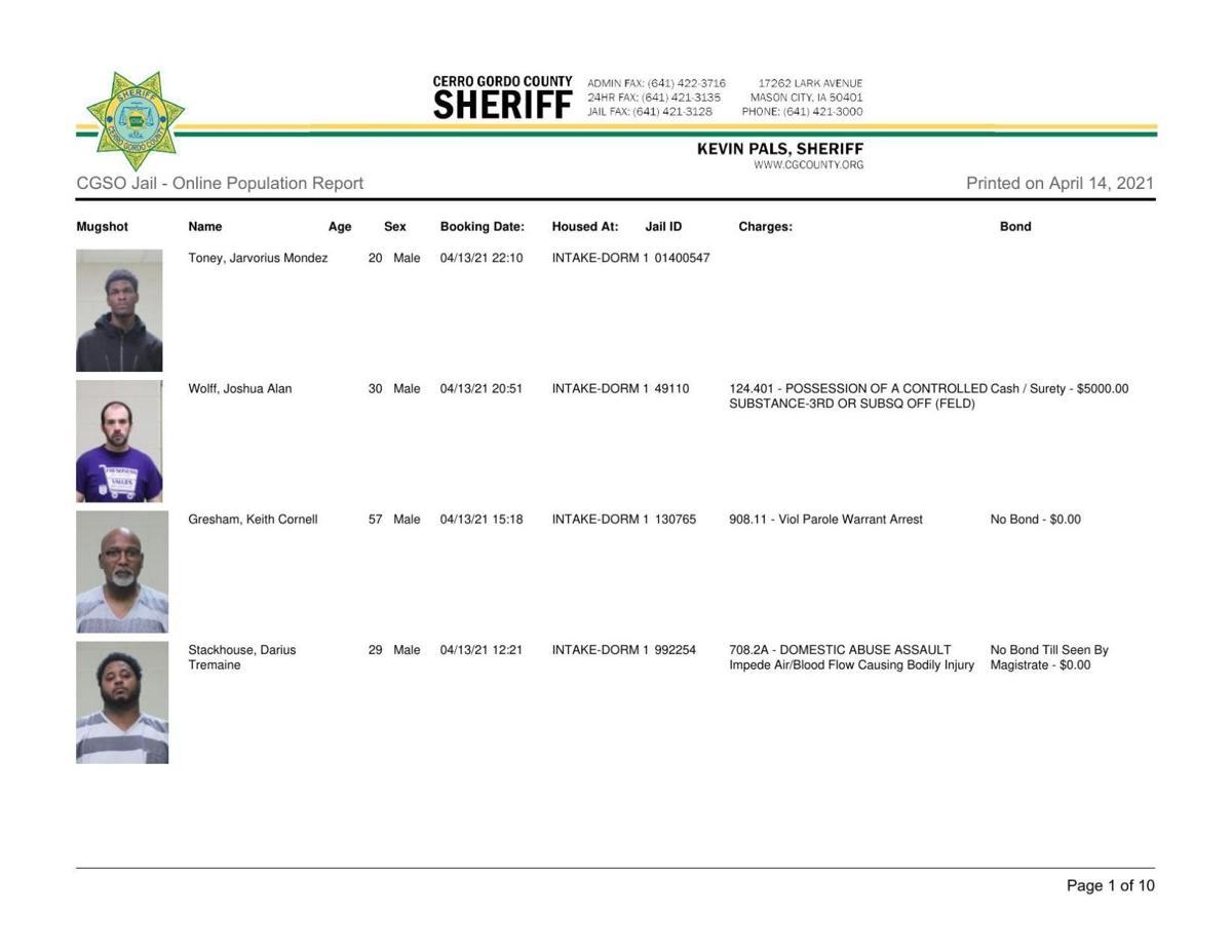 4-14 Cerro Gordo County Jail Log