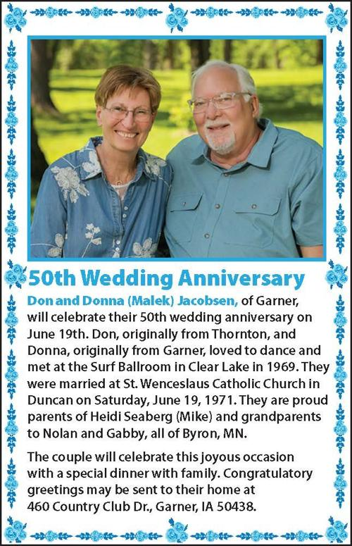 Happy Anniversary Don and Donna Jacobsen