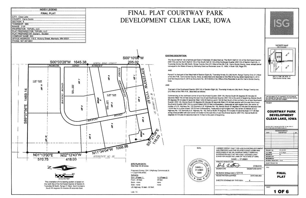Clear Lake's Courtway Park Development final plat