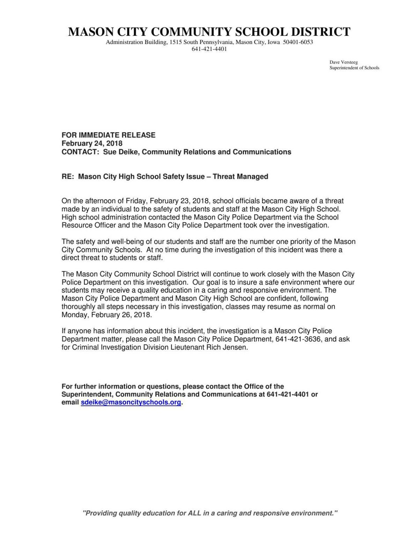 Mason City High School threat press release