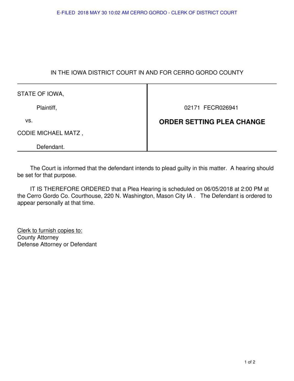 Plea change set for Matz