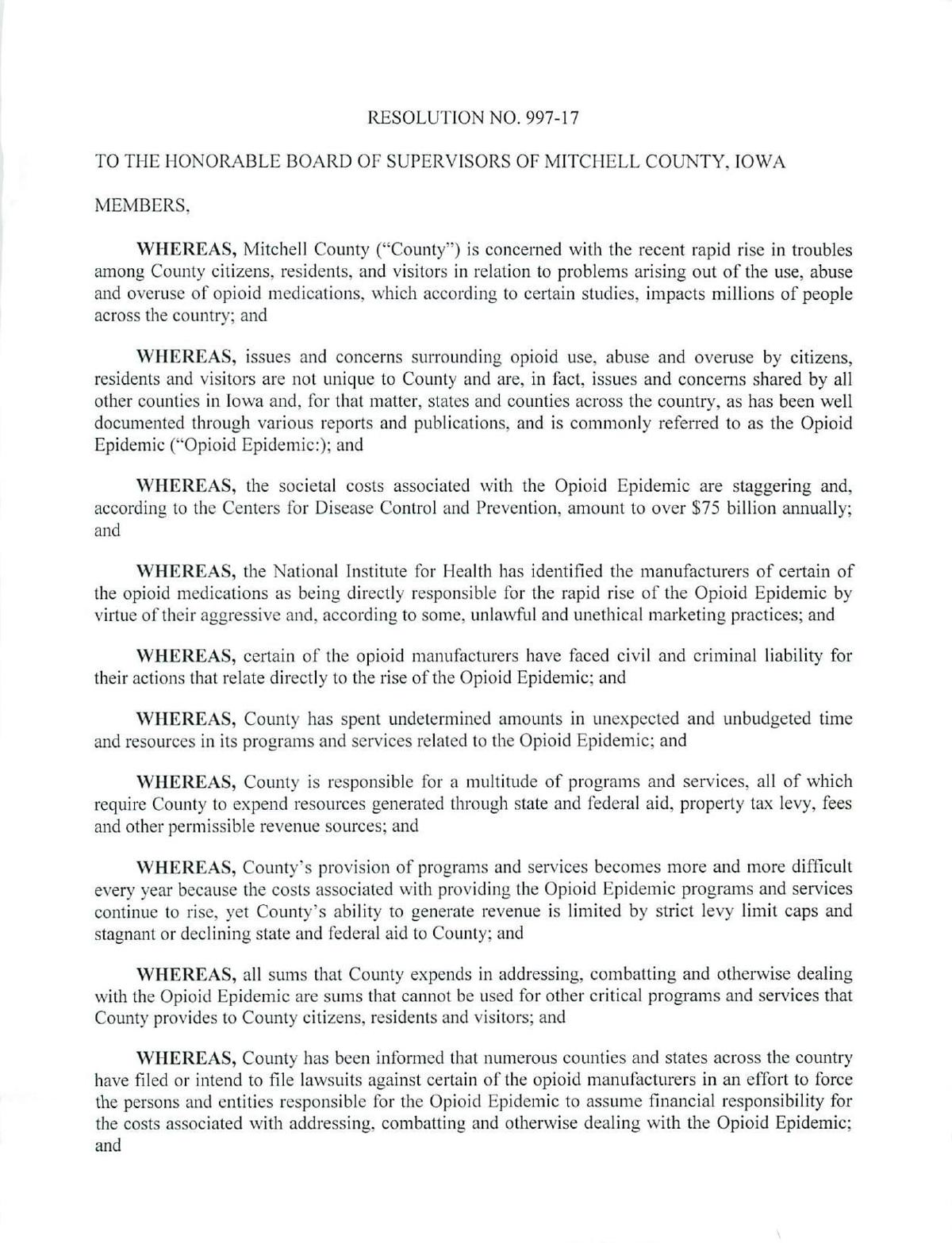 Mitchell County BOS resolution