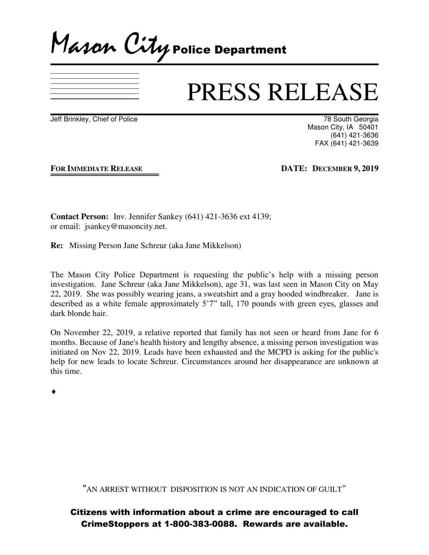 Jane Schreur missing press release