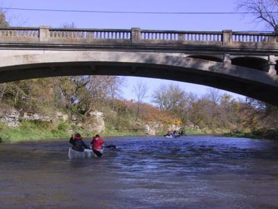 canoeing bridge