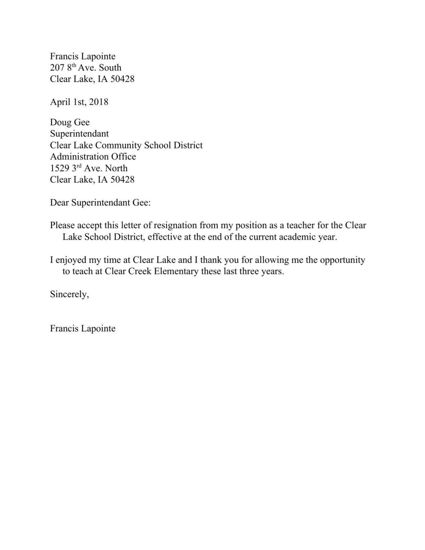 Lapointe resignation letter