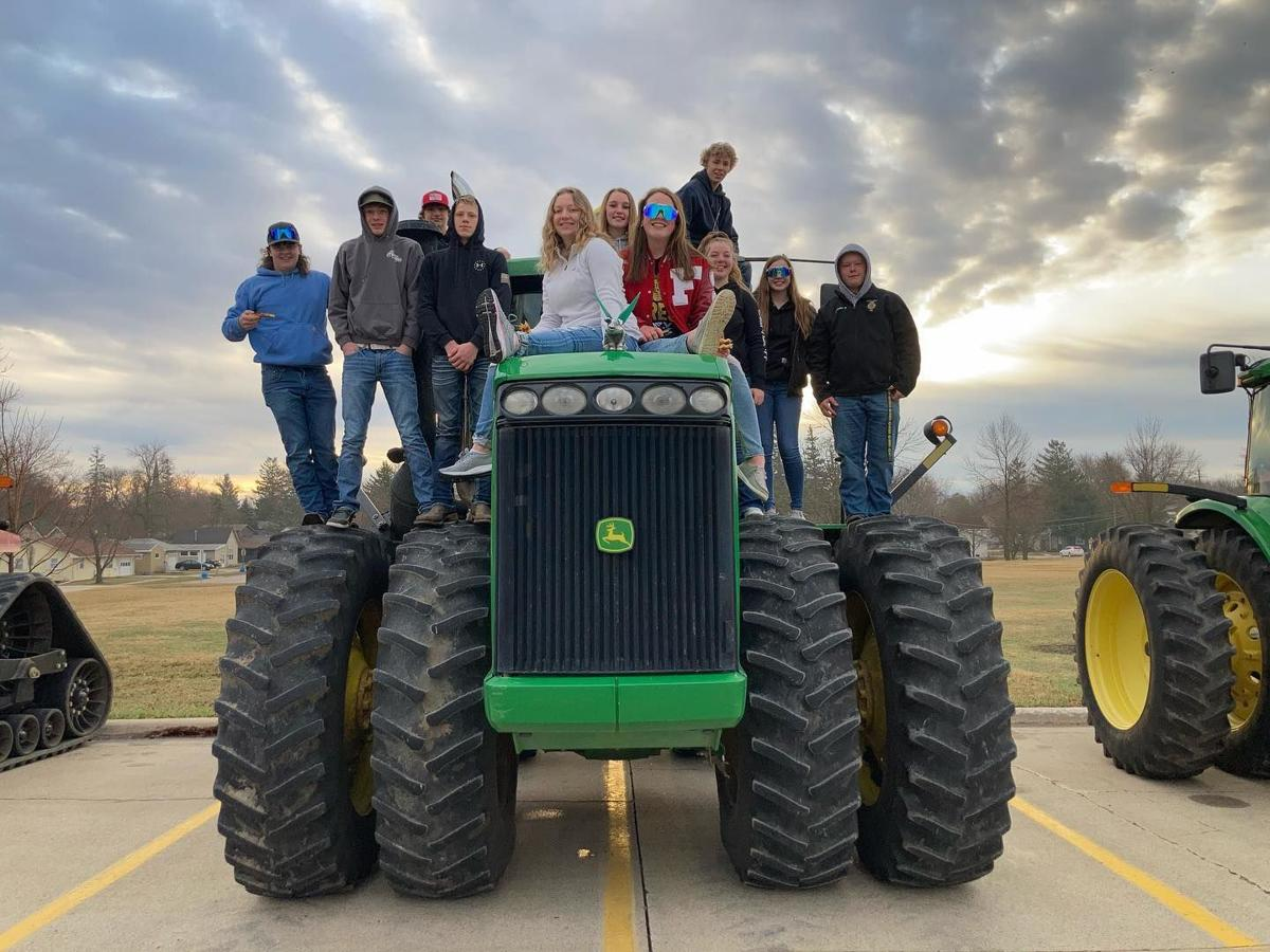 Forest City FFA students on Tractor