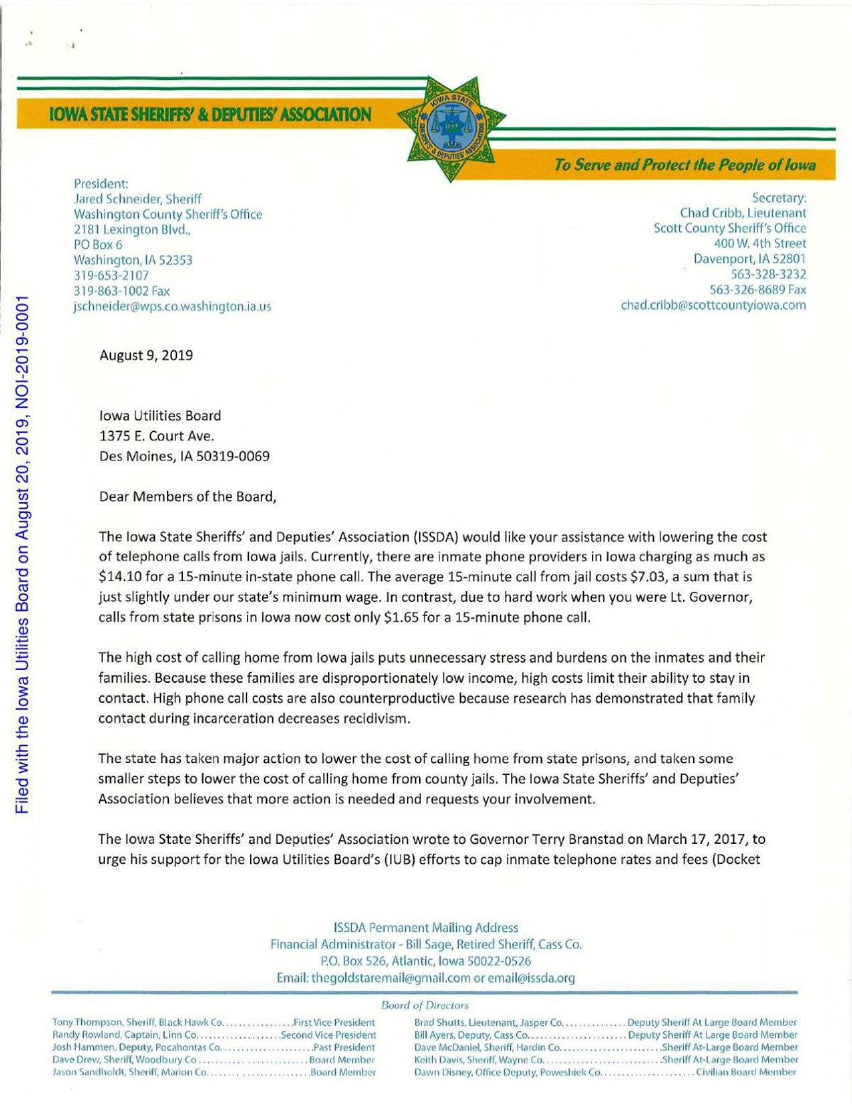 Iowa State Sheriffs' letter to the Iowa Utilities Board