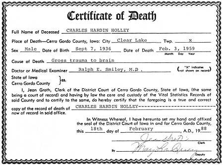 Death Certificate - Buddy Holly | Holly | globegazette.com