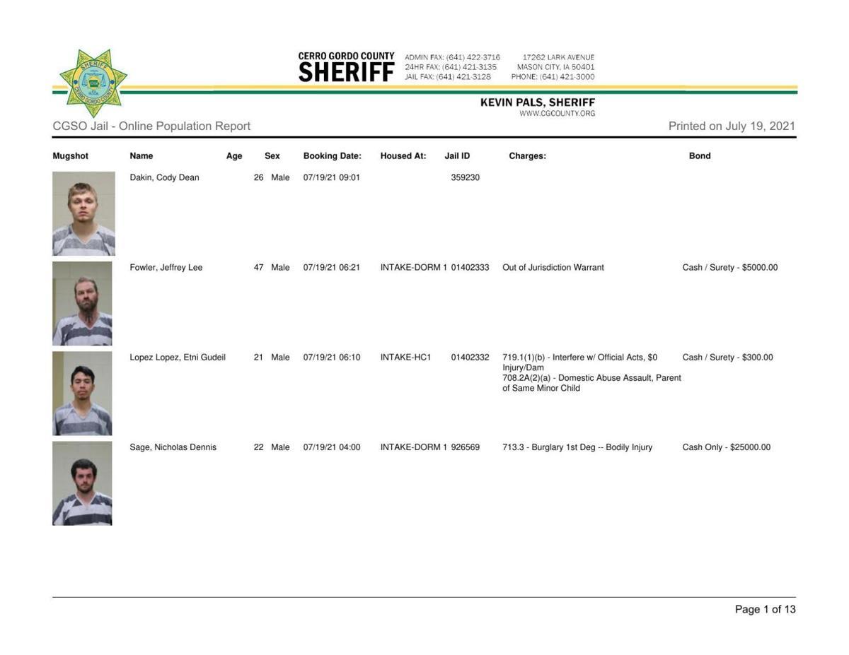 7-19 Cerro Gordo County jail inmates