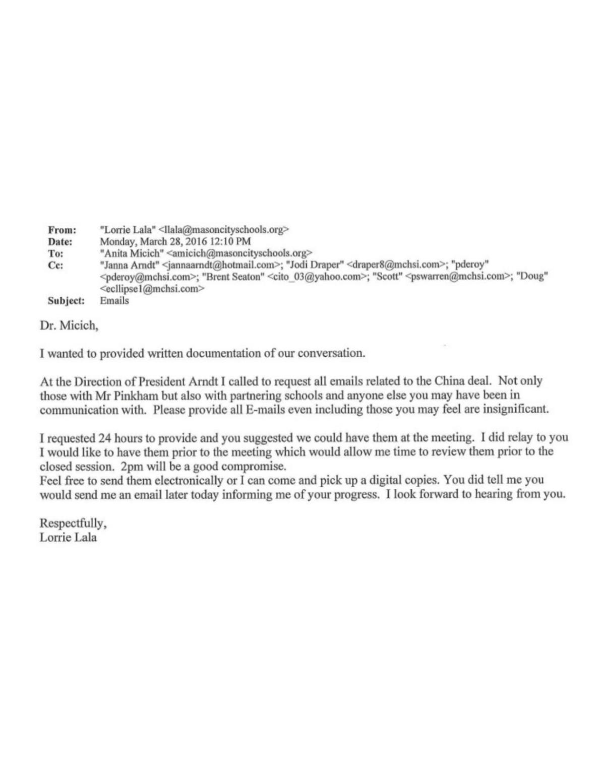 Open records request for Mason City School emails | Mason City