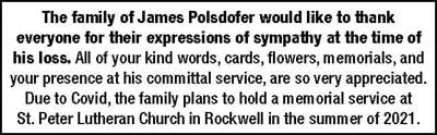 Thank You from The Family of James Polsdofer