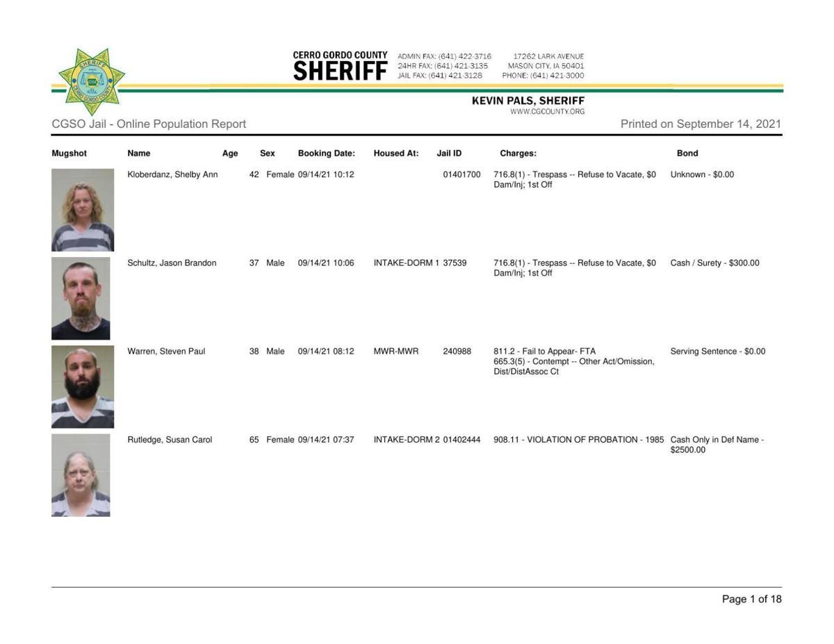 9-14 Cerro Gordo County jail inmates